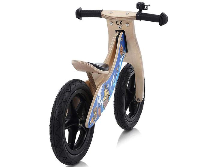 Bicicleta de equilibrio de madera Baby Vivo sin pedales para bicicleta DE 30.5 cm con campana