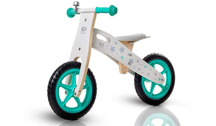 Balance Bike Runner Stars Bicicleta de madera verde - sin pedales ecológicos Aprendizaje
