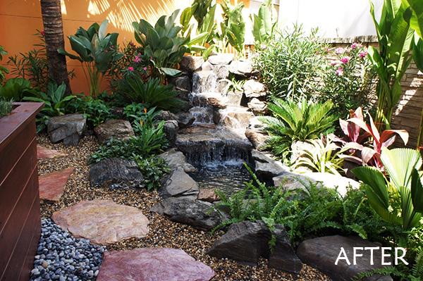 Natural Foliage Artificial Waterfall Thai Garden Design