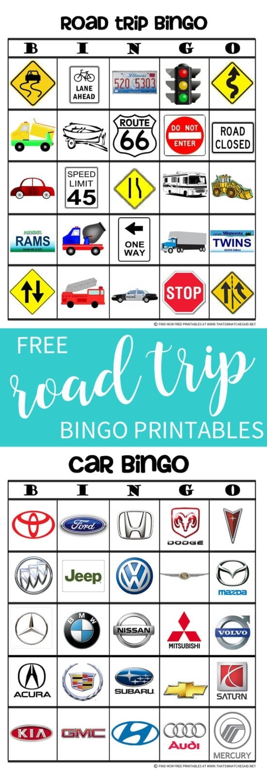 Combine I Spy with Bingo for this fun Road Trip Bingo game! Free Printables included.
