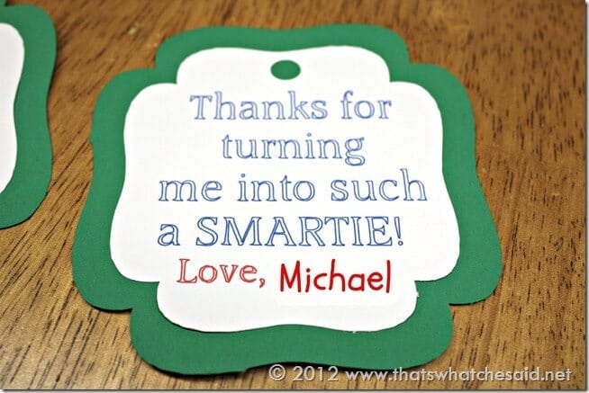 Close Up of Teacher Appreciation Tag