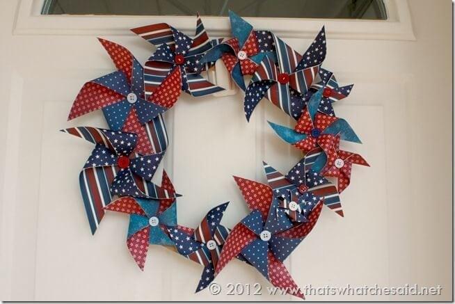Labor Day Patriotic Pinwheel Wreath