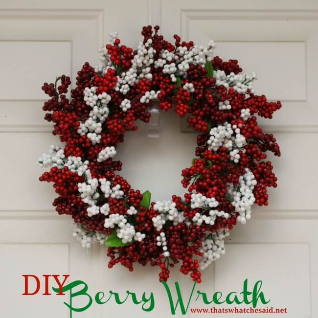 Easy DIY Berry Wreath made from Dollar Store Supplies!  Elegant and classy and inexpensive!