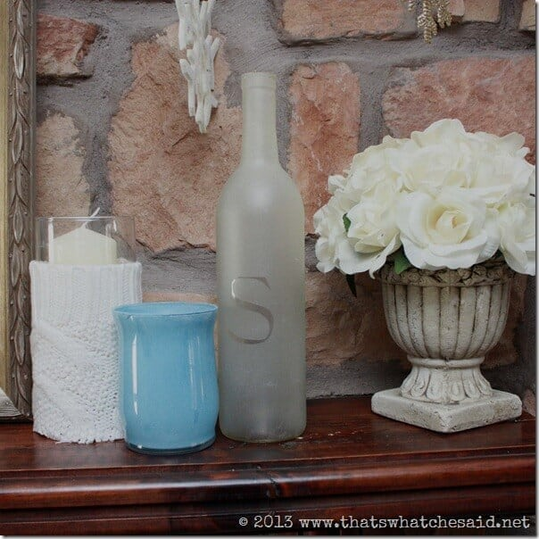 Sweater Candle, Frosted Bottle, Rose Topiary