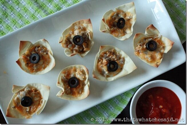 Wonton Appetizers from thatswhatchesaid.com.  So easy and delicious!
