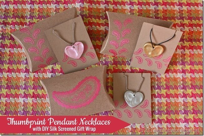 Thumbprint Heart Charm Necklaces with DIY Gift Wrap at thatswhatchesaid.net