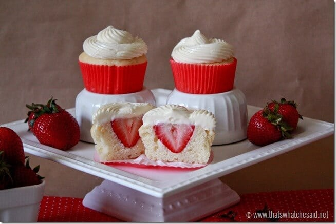 Hidden Strawberry Cupcakes with Cheesecake Frosting