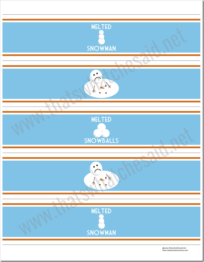 Melted Snowman Water Bottle Labels from thatswhatchesaid.net