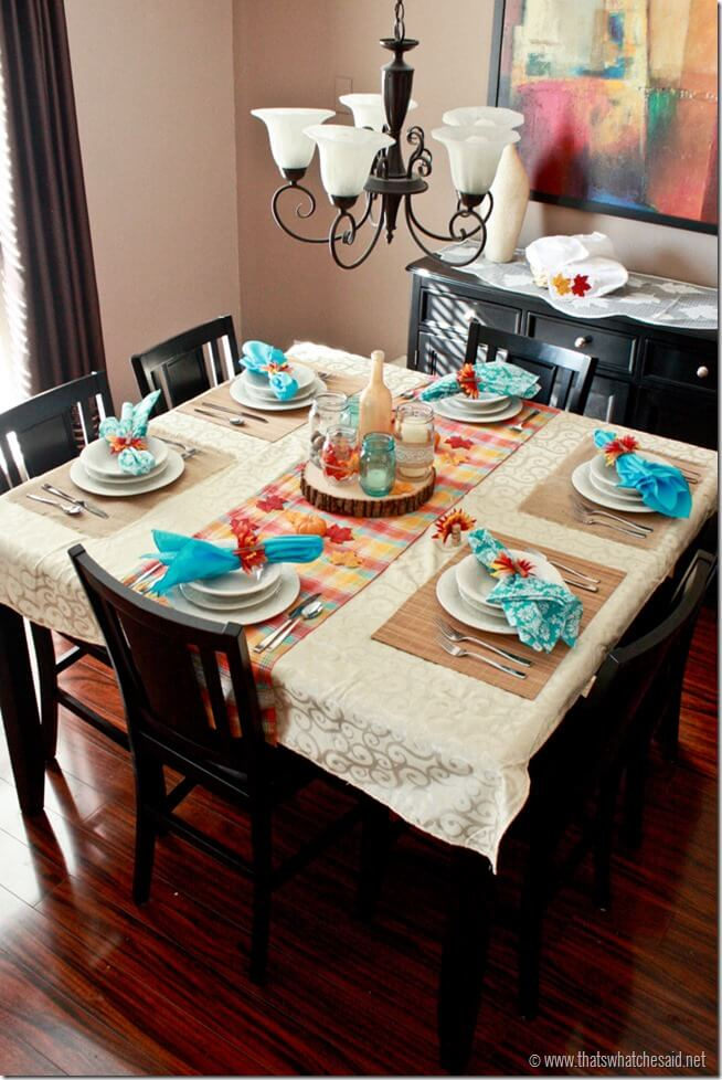 Rustic Modern Thanksgiving Table Setting at thatswhatchesaid.com