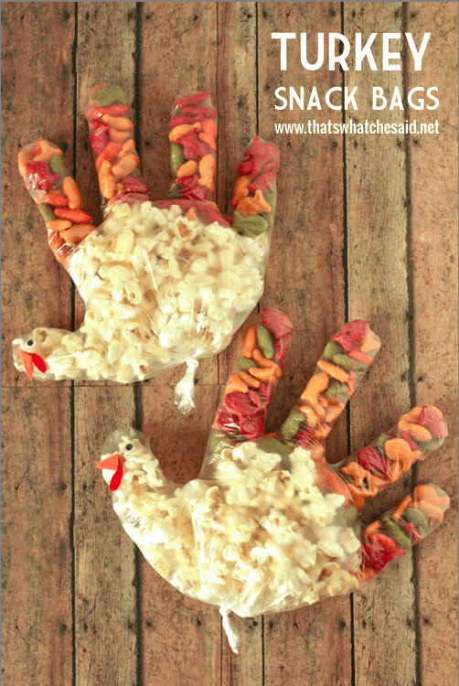 Thanksgiving Turkey Snack Bags! Perfect for the Kids Thanksgiving Table!
