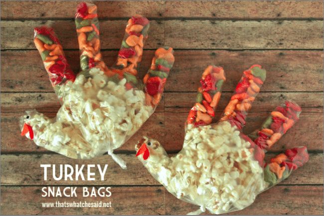 Turkey Snack Bags at thatswhatchesaid.net Thanksgiving Kids Activity
