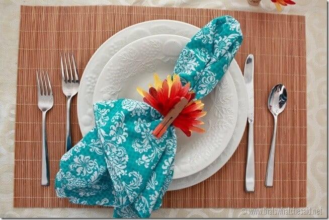 Turquoise Bandana Napkins with Turkey Napkin Rings!  Fun take on Thanksgiving Decor!