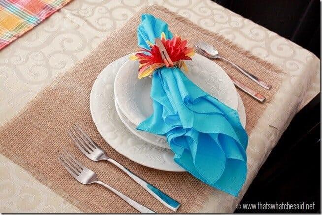 Burlap & Turquoise.  A fun Thanksgiving Decor Idea