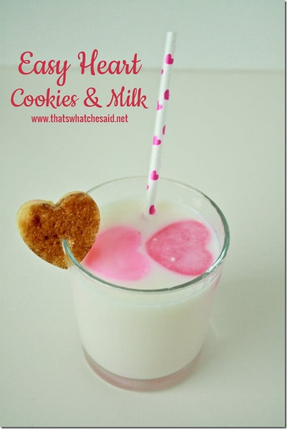Easy Heart Milk and Cookies at thatswhatchesaid.net