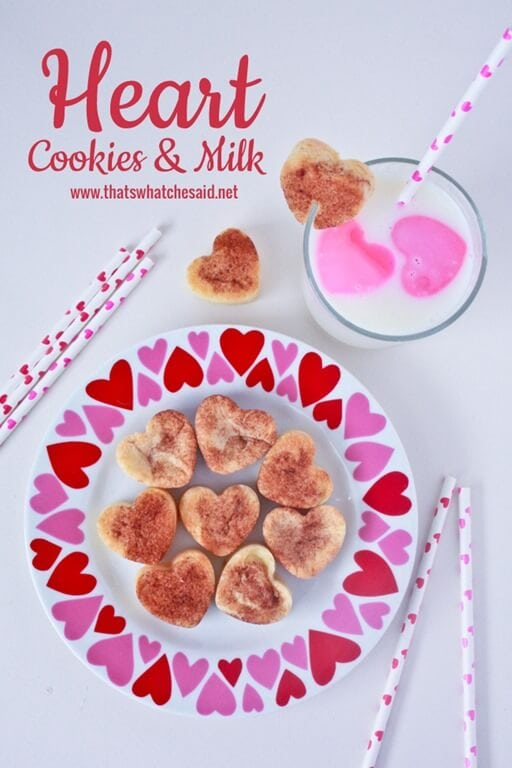 Heart Cookies and Milk at thatswhatchesaid.net