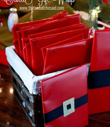 Santa Gift Wrap Idea at www.thatswhatchesaid.com