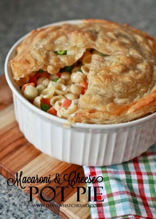 Mac & Cheese Pot Pie Recipe at thatswhatchesaid.com