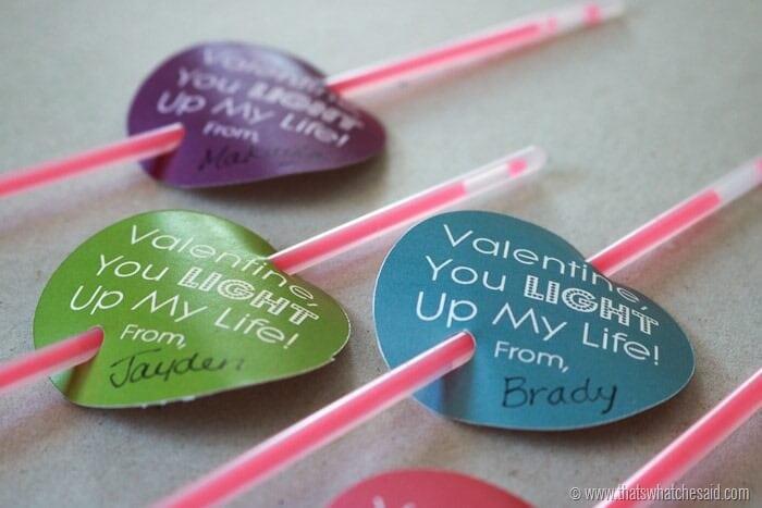 Glow Stick Valentine Free Printable! Perfect Non Candy Valentine's Day Idea!