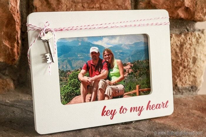 Easy Valentine Gift Idea at www.thatswhatchesaid.com. The Key to My Heart Frame