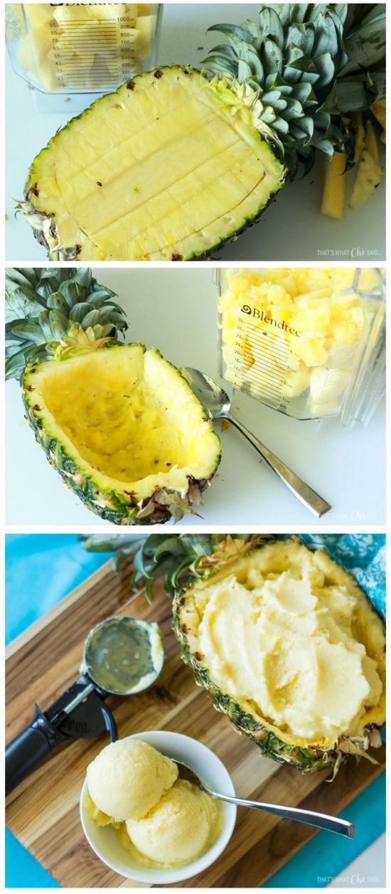 Frozen Pineapple Dessert made from Fresh Pineapple