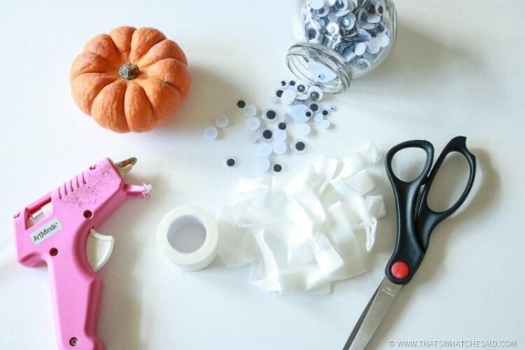 Supplies For Mummy Pumkins - Hot Glue Gun Pumpkin-Scissors-Googley Eyes-Gauze