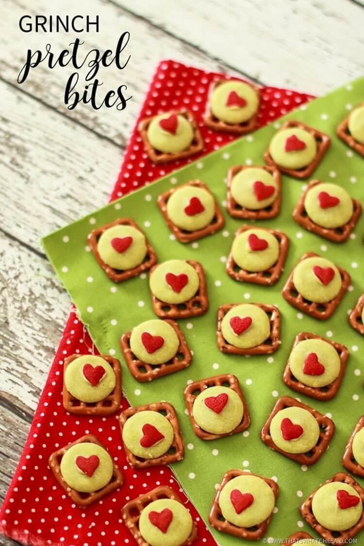 Easy Holiday Sweet Treat - The Grinch Pretzel Bites