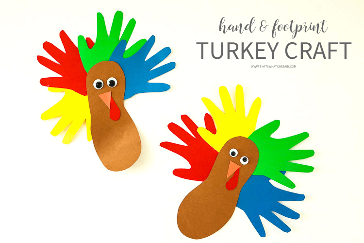 Hand and footprint turkey craft! Perfect for the kids!