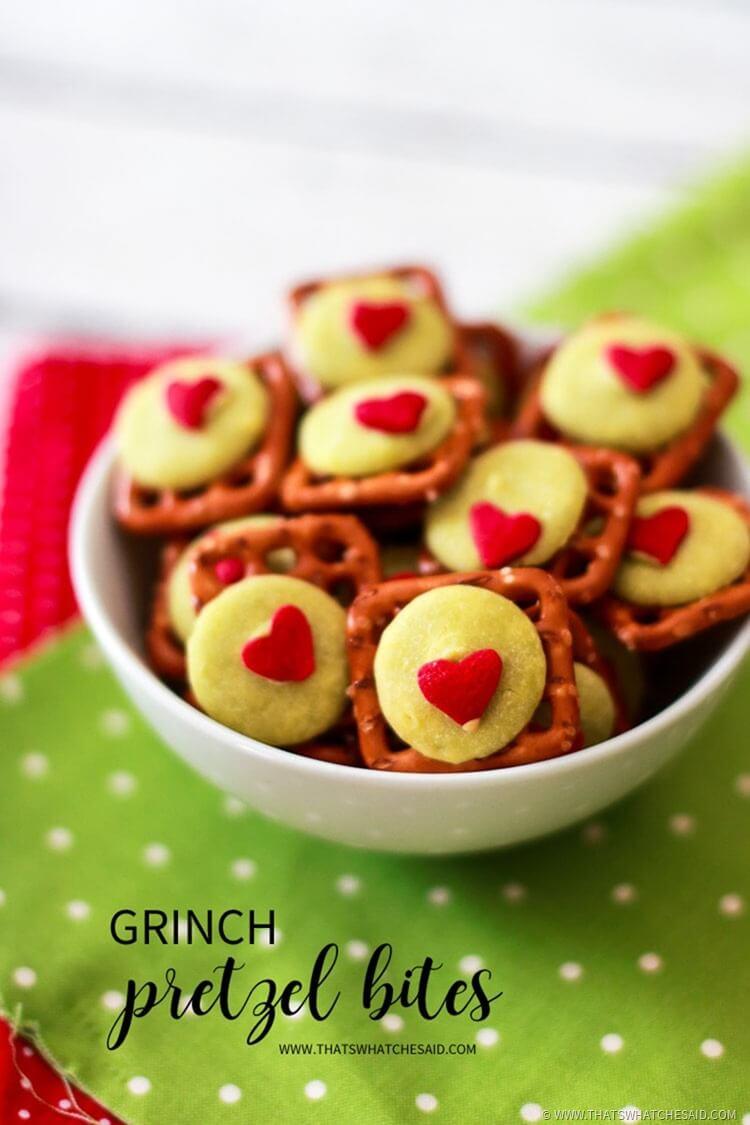 The Grinch Pretzel Bites - Holiday Snack Idea