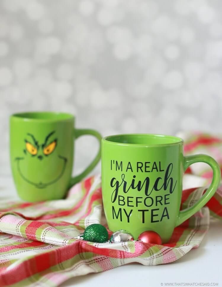 Grinch Hot Tea Mug with Free Cut File