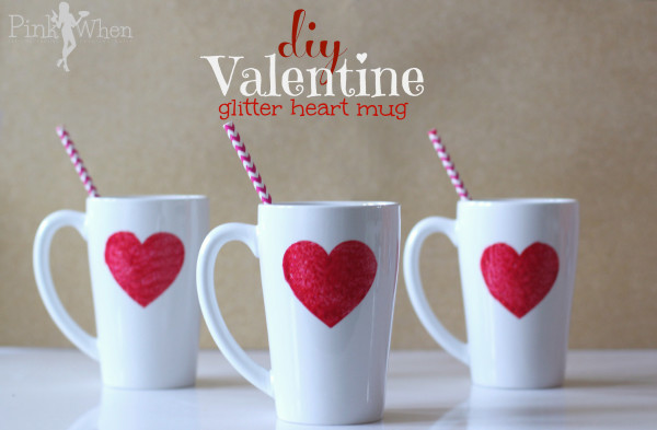 White mugs with Red Glitter Hearts