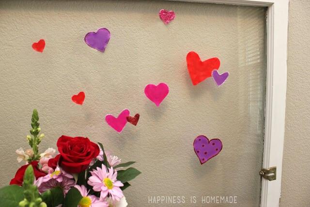 DIY Glue heart window clings
