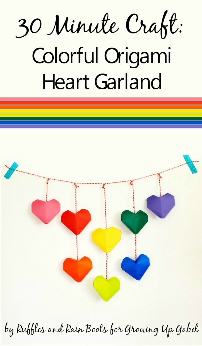 Garland with Origami folded hearts in rainbow colors