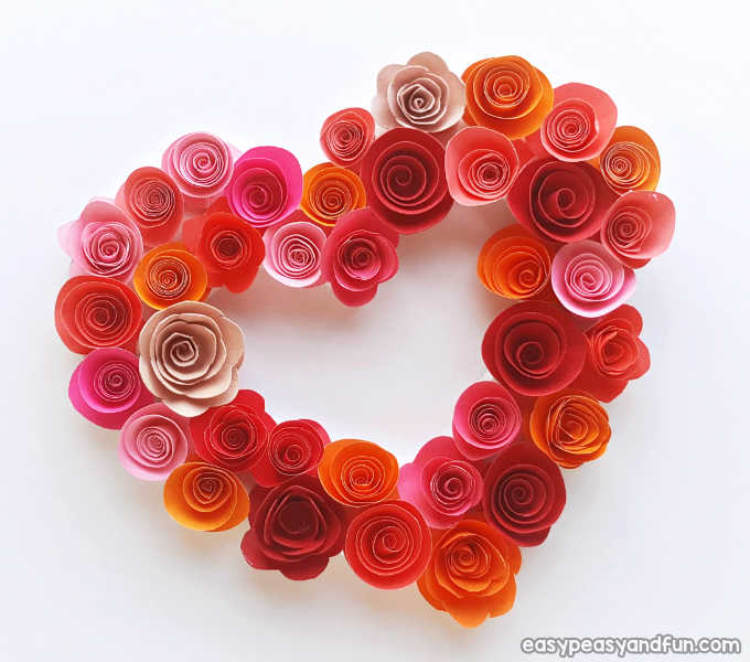 Heart shaped wreath made of rolled paper flowers