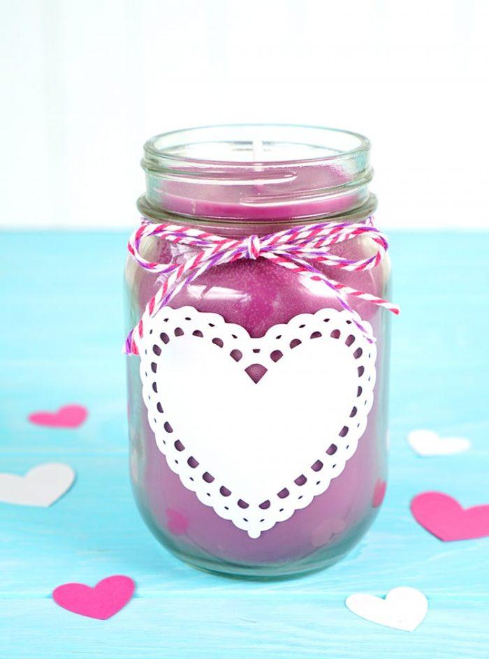 Mason Jar candle wtih Heart vinyl design