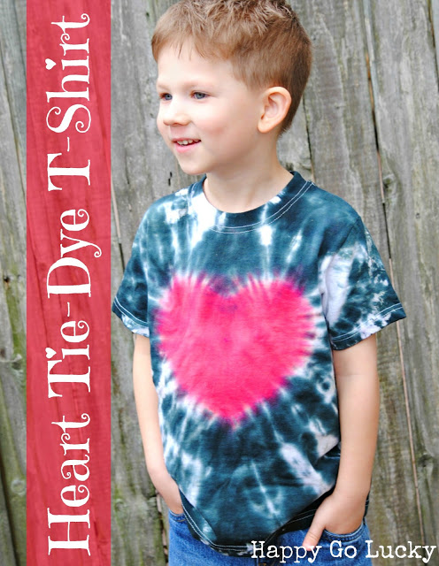 Blue Tie Dyed Shirt with Heart in middle