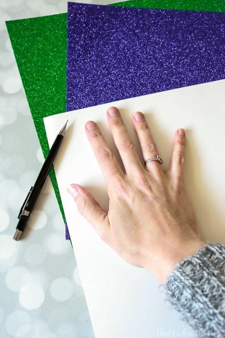 Handprint Mardi Gras Mask - Trace your handprint