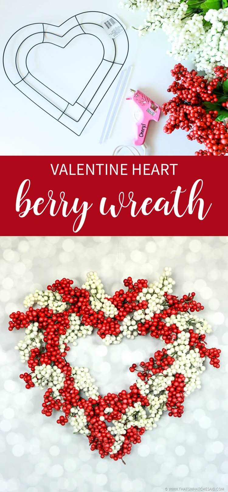 Valentine Heart Berry Wreath from Dollar Store Supplies