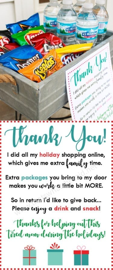 Free Holiday Delivery Driver Thank you Printable