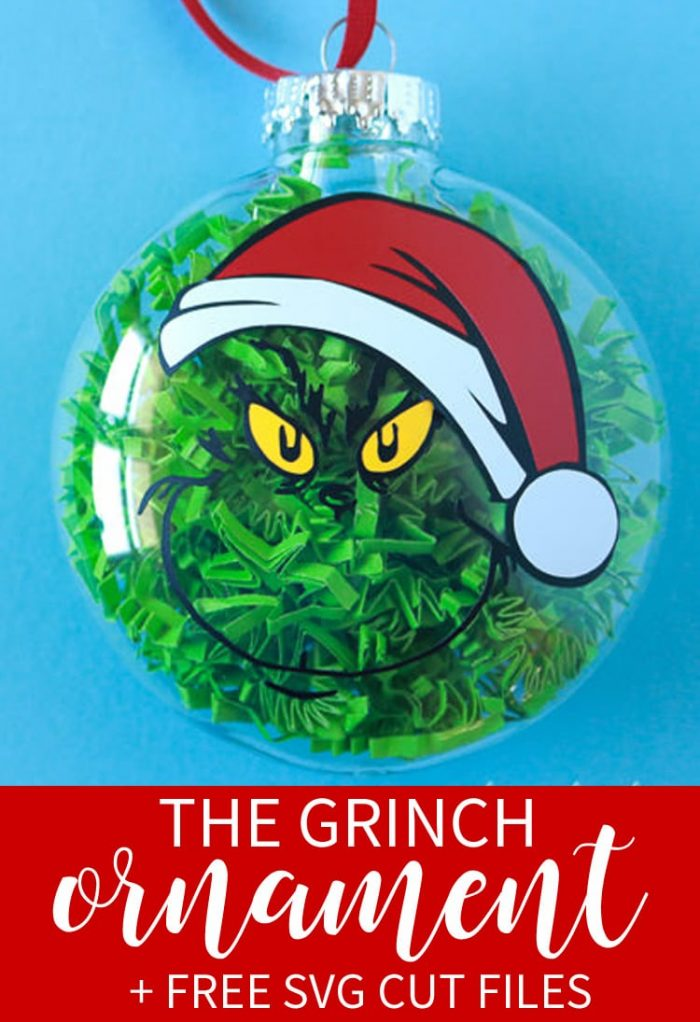 Grinch Santa Hat Ornament Free SVG Cut File