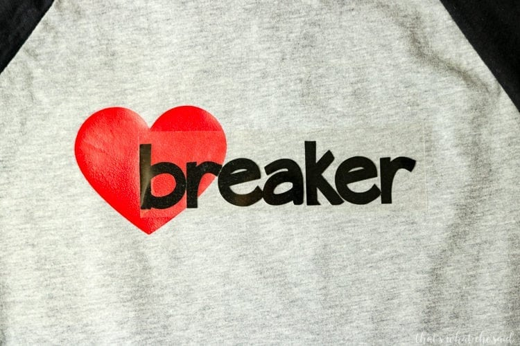2 colors of Heat Transfer Vinyl Layered on a Kid's Valentines Day Shirt