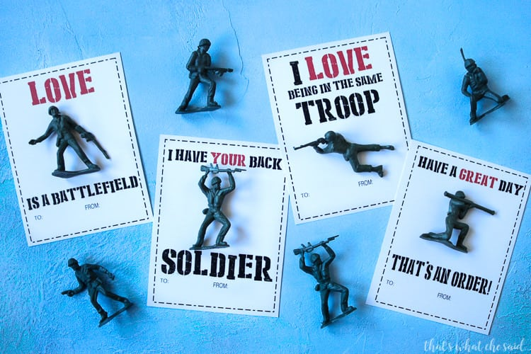 Fun and Easy Army men Valentine Printable Cards