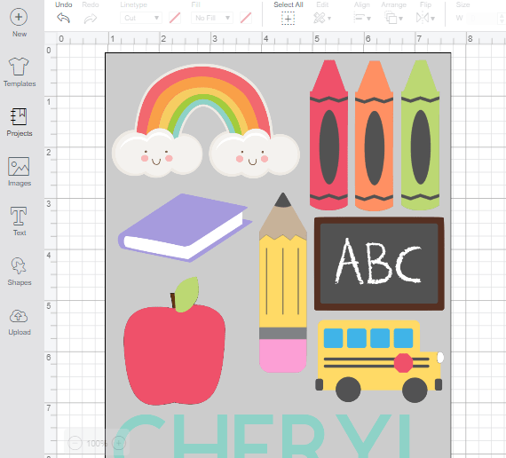 Cricut Design Space Canvas with Rectangle as a guide as to how full you can fill the space for print then cut