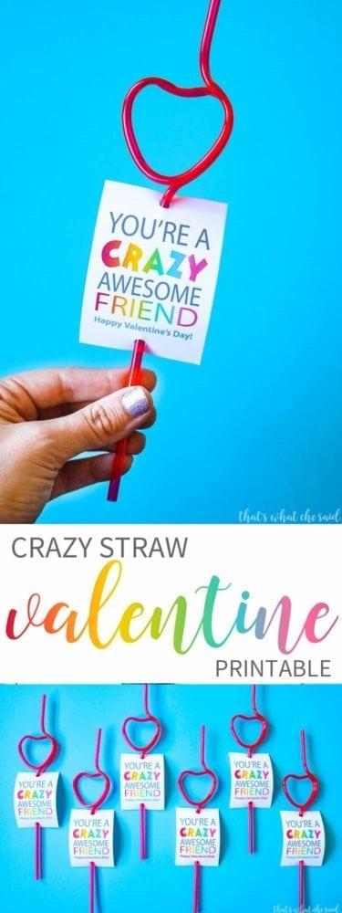 Crazy Straw Non-Candy Valentine Card Idea