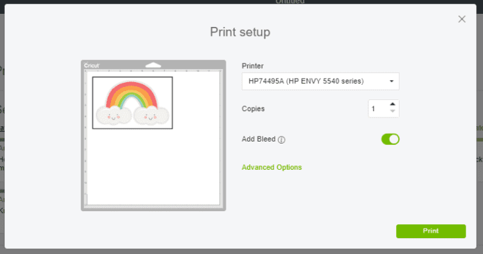 Printing image from cricut access to use on print then cut