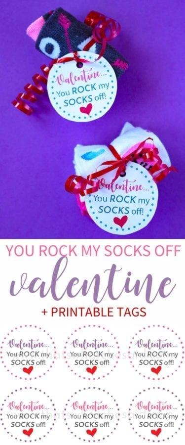 Valentine You Rock My Socks Off Non Candy Valentine Idea + Free Printable