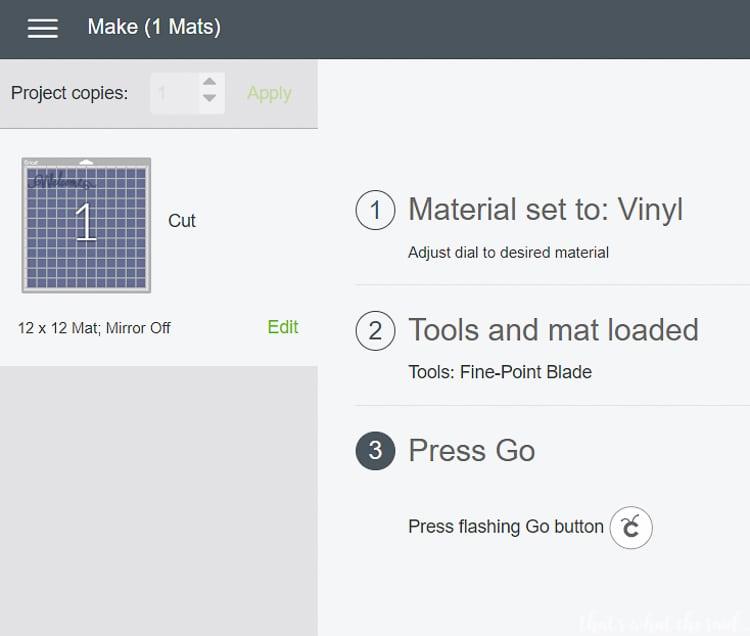 Cutting Vinyl - Press Go to Cut