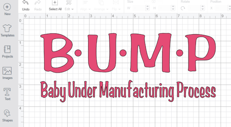 Bump Maternity Design on Cricut Design Space