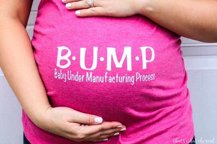 Pregnant Belly wearing pink shirt with B-U-M-P Baby Under Manufacturing Process in Sportflex iron on