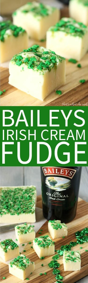The Best Baileys Irish Cream Fudge Recipe! 4 ingredients and whips up in minutes! Try not to eat it all before it fully sets...I dare you!