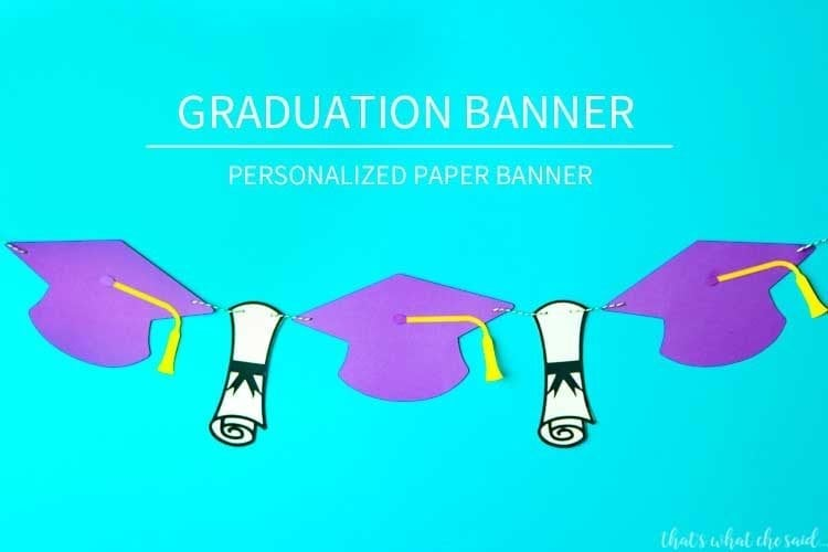 Paper Graduation Banner - Alternating graduation caps and diplomas made from cardstock
